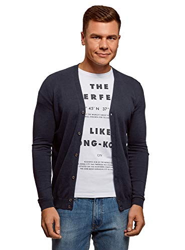 Oodji ultra uomo cardigan abbottonato in cotone, blu, it 50-52 / eu 52-54 / l