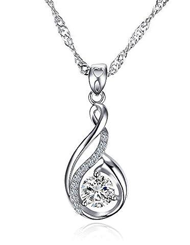 Vnox Femmes Filles 925 en argent sterling Zirconia Princess Cut Collier pendentif sirène,chaîne libre