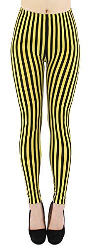 dy_mode Damen Leggings gestreift Schwarze Weiße Streifen - JL058 (JL058-GelbSchwarz)