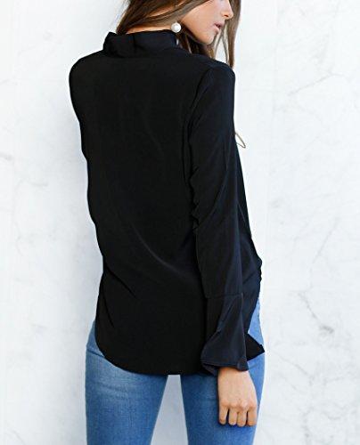 Camicia Donna Elegante Estiva Maglie A Manica Lunga Autunno Top Con Cintura Butterfly Blusa Sciolto Puro Colore Maglietta Moda Casual T-Shirt Blouses Nero