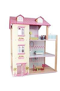 Puppenhaus Rosa Dach aus Holz, inkl. 21 farbenfrohen Möbelstücken, Spielspaß auf 3 Etagen, mit drehbarem Sockel, offene Seiten für einfaches Bespielen
