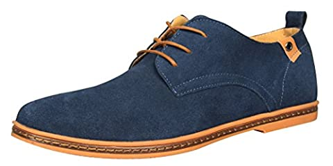 iLoveSIA Men's Leather Suede Oxford Shoes UK Size 10 Blue (46)