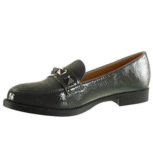 Angkorly Scarpe da Moda Mocassini bi-materiale slip-on donna borchiati  verniciato Tacco a ...