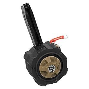 Métal Gaz Drum Chargeur Marui / WE / HFC M9 Série Airsoft GBB (Noir) - Porte-clés Inclus