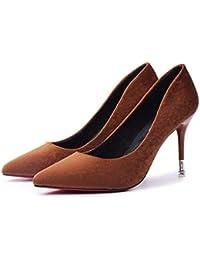 ZHZNVX Scarpe da donna Suede Primavera & Estate Tacchi comfort Tacco a spillo Nero/Giallo / Rosa, Nero, US5.5 / EU36 / UK3.5 / CN35
