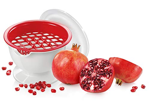 Tescoma 420643 Presto Granatapfel entkerner mit Saftfang, Weiß/Rot