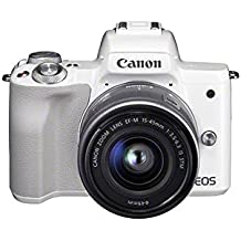 Canon EOS M50 Compact System Camera and EF-M 15-45 mm f/3.5-6.3 IS STM Lens - White