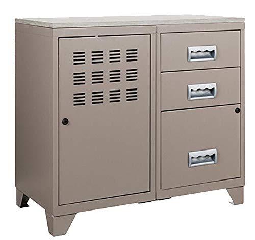 Meuble bureau métal 1 porte 3 tiroirs