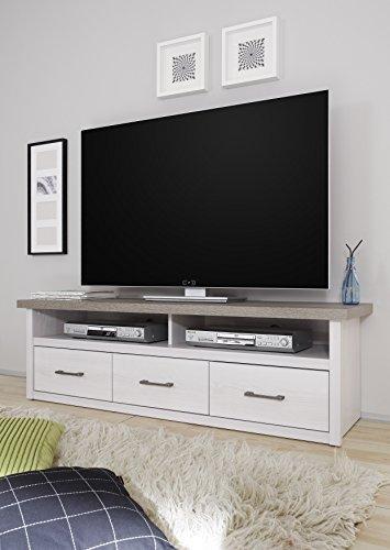 moebel-guenstig24.de TV Lowboard Luca Sideboard Wohnzimmer Schlafzimmer Flur Weiß Pinie Braun Trüffel 148cm