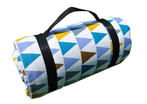 X-Labor Bohemian Picknick Decke 200x150 cm XXL Baumwolle Leinen mit wasserdichter PEVA Unterseite Wärmeisoliert Stranddecke Campingdecke Motiv-I