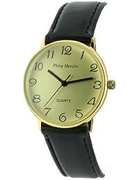 Philip Mercier SML23/B - Reloj de caballero de cuarzo color negro