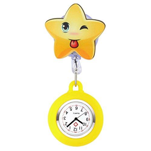 (JSDDE Krankenschwester Uhr Pulsuhr Nurse Watch Kitteluhr Silikon Cartoon Taschenuhr Schwesternuhr mit Clip #1)