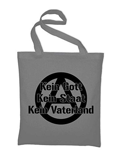 Kein Gott Kein Staat Kein Vaterland Anarchie Logo Jute Jutebeutel, Beutel, Stoffbeutel, Baumwolltasche Light Grey