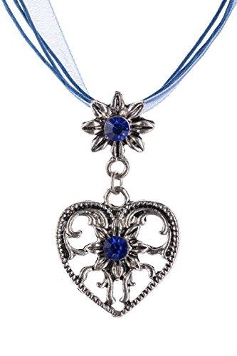 Trachtenkette Herz Edelweiss mit glänzenden Strasssteinen Trachten Kette Schmuck in div Farben perfekt für Dirndl, Lederhose und Trachtenbluse (Blau)