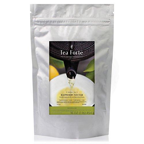 Tea Forté Raspberry Nectar - Organic Infusion Bulk Raspberry - Whole Leaf Tea - Zip Bag 454 gr