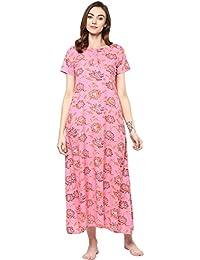 Chhipa Women 100% Cotton Nigthy Gown Pink Maxi