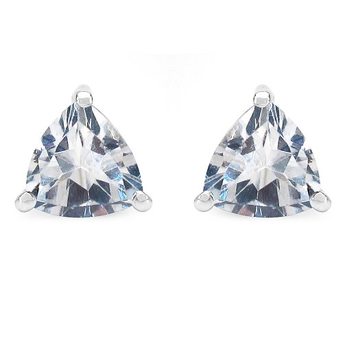 Johareez 1.70CTW Genuine White Topaz .925 Sterling Silver Trillion Shape Earrings