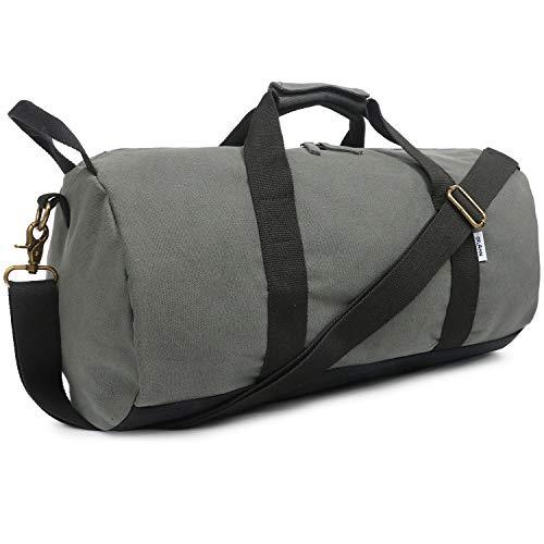 Oflamn Kleine Reisetasche für Männer und Damen - Sporttasche Segeltuch Trainingstasche - Travel Duffel Bag & Sports Gym Bag (2.0 grau)