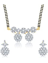 Amaal Mangalsutra Pendant Set With Earrings For Women Girls Jewellery Set Gold Plated In Cz American Diamond MSPT0107