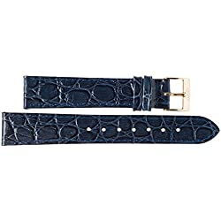 Kaiser Watches Leather Band Watch Strap Leather Band Dark Blue 18mm Clasp: Yellow 18mm