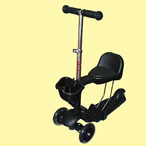 HJXJXJX Schwarzes Drei-in-eins Multifunktions-Kinder-Dreirad-Roller