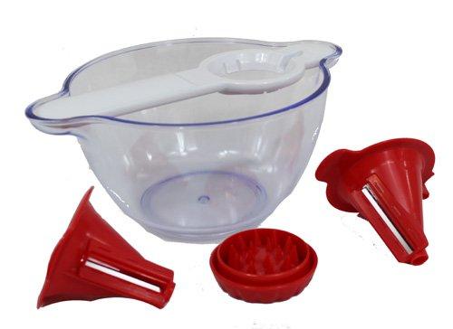 GOURMETmaxx 06552 Spiralschneider mit Salatschüssel rot/weiß