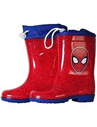 takestop Stivali Stivaletti Stivaletto in Silicone da Pioggia Spiderman Spider Man Uomo Ragno Marvel Rosso Blu Bambino Bimbo Chiusura Regolabile Scarpe Sneakers