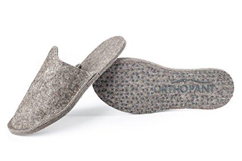 Orthopant pantoufles en feutre pour invités, unisexe, fermé au talon, respirant, antidérapant | 100 % pure feutre de laine pour une chaleur agréable | Qualité fait main du Tyrol du Sud Gris