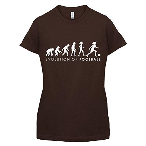 Evolution of Woman - Fussball - Damen T-Shirt - 14 Farben Dunkles Schokobraun