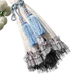 Generic 1 Pair Crystal Beaded Tassels Tieback Curtain Cord 6 Colors-Blue