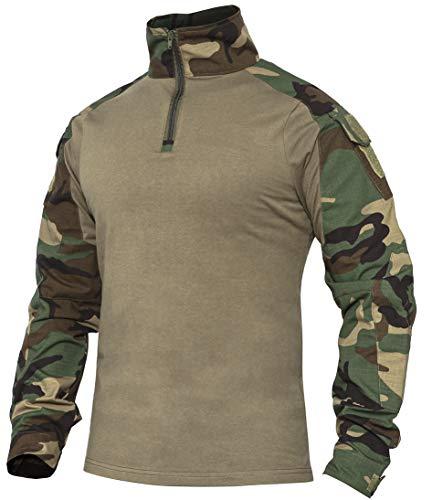 XKTTAC Herren Taktisches Hemd Outdoor Shirt Kampfshirt für Militär und Airsoft (Woodland, L)