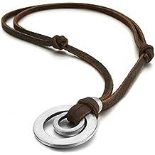 Daesar Joyería Collar Colgante Acero Mujer Hombre, Cuero Marrón Colgante Tribal Anillo Ring Ajustable Plata, Tamaño 5x31mm