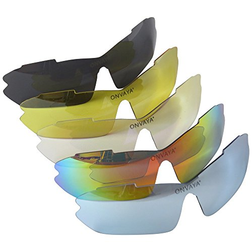 ONVAYA Polarisierte UV400 Sportsonnenbrille mit 5 13 Teilig Sportbrille Radbrille Sonnenbrille mit 5 Wechselgläsern, Grau, One Size - 2