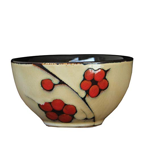 Huapin Kleine Schüssel Schüssel Kreative Persönlichkeit Haushalt Reisschale Kleine Schüssel Schüssel Japanischen Stil Und Wind Ofen Glasur (Color : Plum ()
