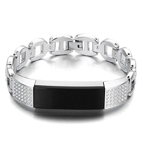 Altsommer 14.5mm Flash Diamant Frauen Luxusuhr/Mode Fashion Edelstahl Armbanduhr für Fitbit Alta HR Uhrenarmbänder Edelstahl Rose Gold Silver Uhrarmband für Damen (Silver)