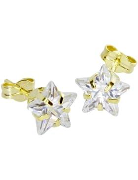 InCollections Damen-Ohrstecker 333/000 Gold mit Zirkonia weiss, Stern 0010160077401