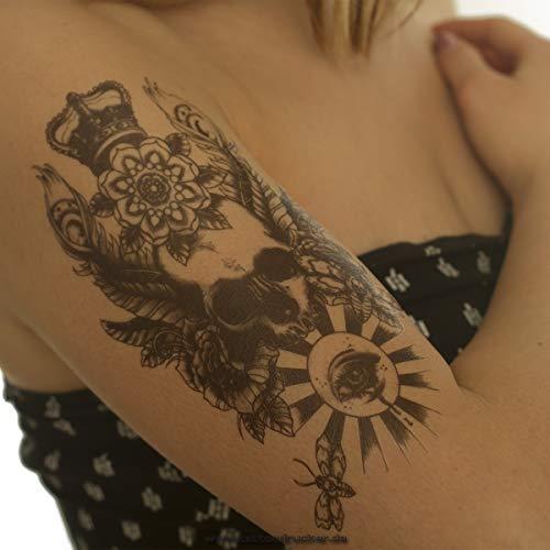 2 x Totenkopf Krone Auge Rose Skull Demon - Body Temporary Fake Tattoo - AX50 (2) - Dämon-schädel-tattoo
