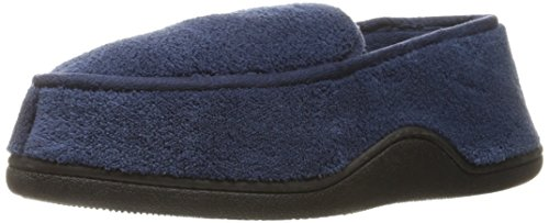 Microterry Memory Foam Totes Isotoner Hommes Indoor / Outdoor Slip-On chaussons Bleu - Bleu marine