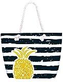 Compagno Strandtasche Ananas XXL Shopper Beach Bag mit breiter Kordel Schultertasche, Taschen Farbe:Schwarz