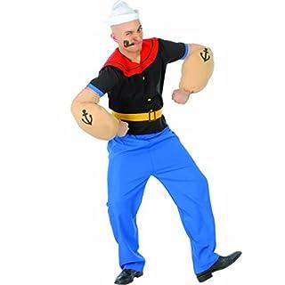 Amakando Popeye Kostüm Matrosenkostüm L 52/54 Faschingskostüm Seefahrer Seemannkostüm Männer Outfit Matrose Karnevalskostüm Herren