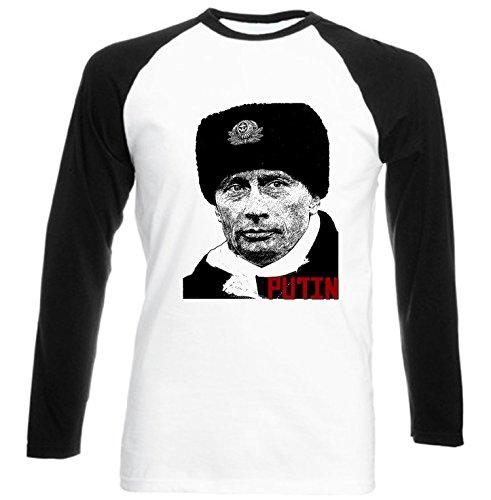 Teesquare1st Men's VLADIMIR PUTIN RUSSIA 1 Black Sleeved Baseball T-Shirt Size Medium