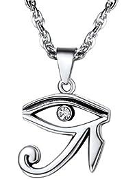 PROSTEEL Collar de Cruz Anj Egipto y Ojo Turco/Ojo de Horus Acero Inoxidable Chapado