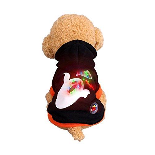 Abcsea Haustier Kostüm, Haustier Kleidung, Hund Kleidung, Haustier Glühen Kleidung, Leuchten Im Dunkeln, Hund Halloween Halloween Glühen Kostüm, Geister Stil - Schwarz - M
