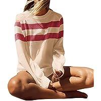 HWTOP Pullover Strickjacken für Damen, Sweatshirts Oberteil, Strickpullover Locker, Sport Freizeit Sweater Stricken Kleidung, Langarmshirt Bluse, Pulli Tops, Mantel T-Shirt Streifen für Frauen