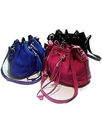 Hrph Nuevo Retro cuero de la PU del mensajero de las borlas del cubo de hombro de las mujeres del bolso de 3 colores