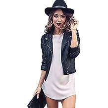 FEITONG Las mujeres delgadas de la motocicleta de la PU Cremallera de la chaqueta de cuero suave Escudo Outwear negro