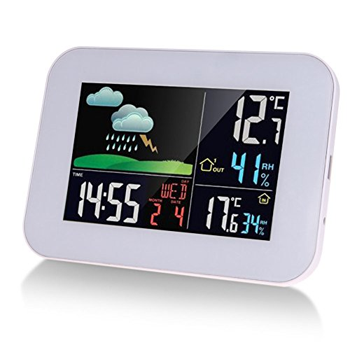 GESIMEI Wetterstation mit Außensensor Funk Wetterstation mit LCD Farbdisplay Innen Außen Thermometer Hygrometer Wettervorhersage Uhr (Wettervorhersage-uhr)
