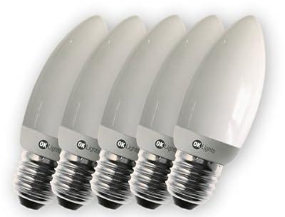 5 Stück Asuntec OK-Lights Schnellstart-Quality-Longlife Kerzen-Energiesparlampe, 6 Watt, E14, 280 Lumen, warmweiß mit Swiss Quality Check von Asuntec bei Lampenhans.de