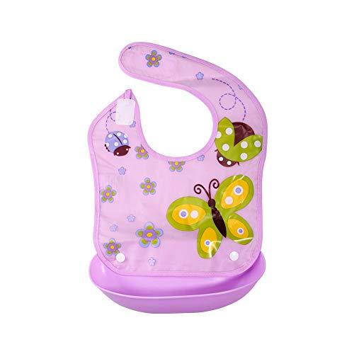 Babylätzchen BPA-frei weiches Wasserdichtes PEVA Lätzchen mit Abnehmbarer Silikon Auffangschale und Klettverschluss Bibs für Babys von 6-36 Monaten, Lila Schmetterling