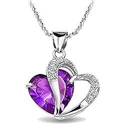 """Hosaire Collar 18"""" con colgante con forma de corazón en zafiro azul en plata esterlina 925 (púrpura)"""